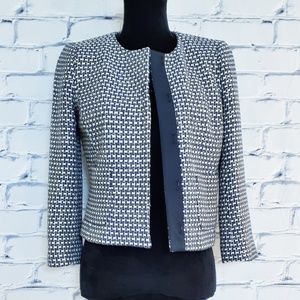 J Crew Metallic Tweed Knit Blazer White Purple 2